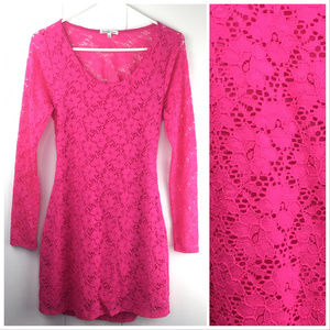 XL Neon Hot Pink Lace Open Back Bodycon Dress
